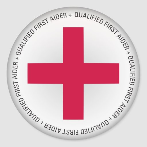 Qualified First Aider Medical Aid Round Stickers