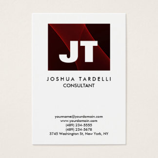 Quality Brown Red & White Monogram Unique Modern Business Card