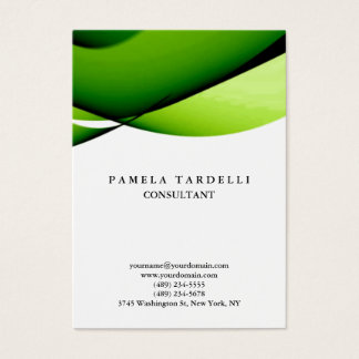 Quality Green & White Unique Modern Curves Business Card