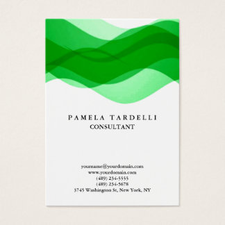 Quality Green & White Unique Modern Pattern Curves Business Card