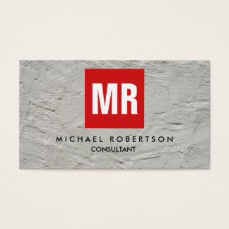 Quality Grey Wall Red Square Monogram Unique Business Card