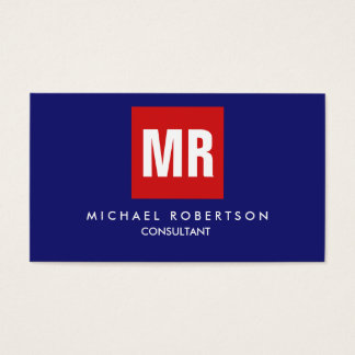 Quality Midnight Blue Red Monogram Unique Business Card