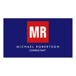 Quality Midnight Blue Red Monogram Unique Pack Of Standard Business Cards