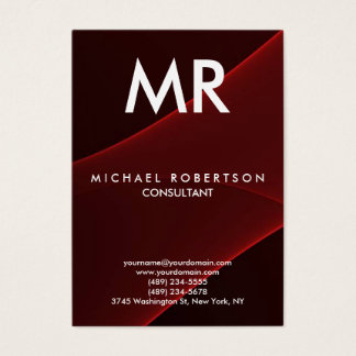 Quality Red Brown Modern Monogram Unique Business Card