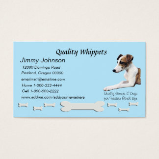 Quality Whippet Blue Dog Bone Business Card