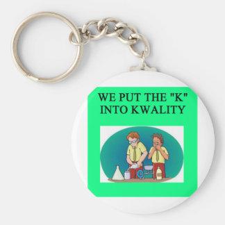 QUALITY work joke Basic Round Button Key Ring