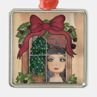 Quantum Cutie Christmas Window Girl Christmas Ornament