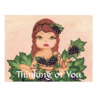 Quantum Cutie Grape Vine Girl Thinking of You Postcard