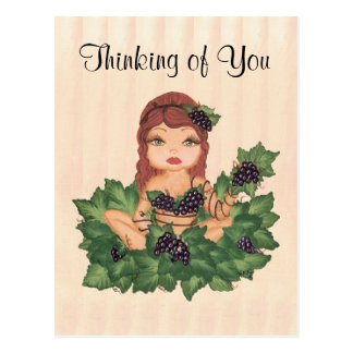 Quantum Cutie Grape Vine Girl Thinking of You Postcard