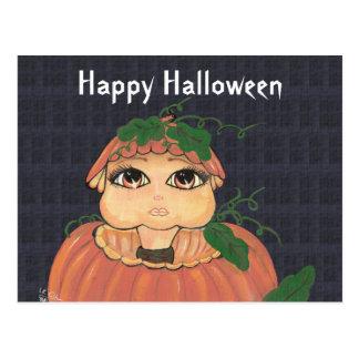 Quantum Kid in a Halloween Pumpkin Postcard