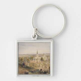 Quarantine Cemetery and Church, plate from 'The Se Silver-Colored Square Key Ring