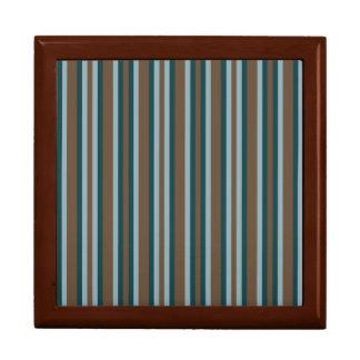Quarry Teal Mod Alternating Stripes Gift Box