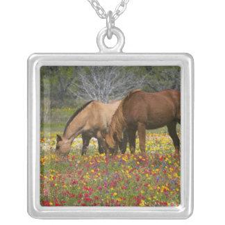 Quarter Horse in field of wildflowers near Cuero Square Pendant Necklace