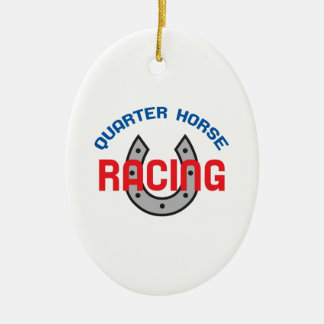 QUARTER HORSE RACING CERAMIC OVAL DECORATION