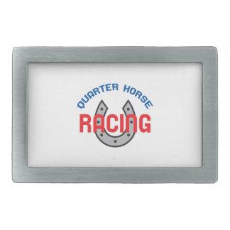 QUARTER HORSE RACING RECTANGULAR BELT BUCKLE