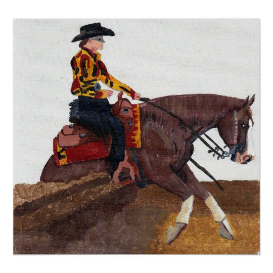 Quarter Horse Reining Horse Poster Print