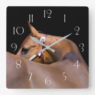 Quarter horse with black background square wall clock