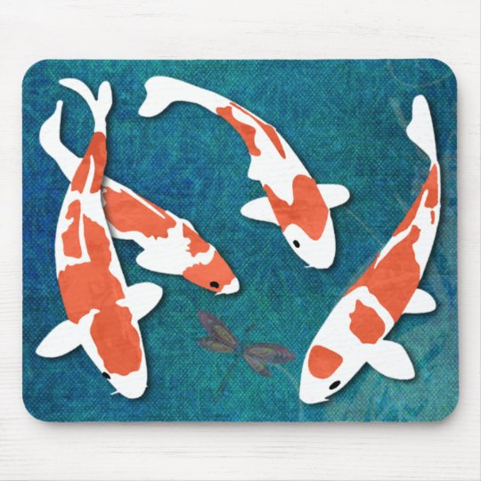 Quartet of Orange & White Kohaku Koi Mouse