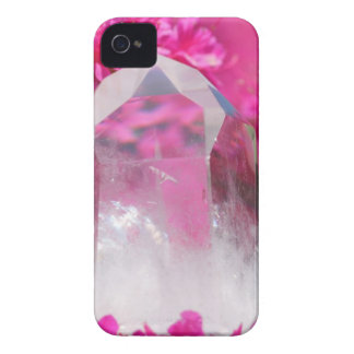 Quartz Crystal and Pink Flowers iPhone 4 Case-Mate Cases
