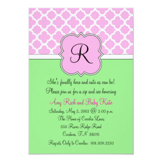 Quatrafoil Monogram Sip and See Baby Invitation