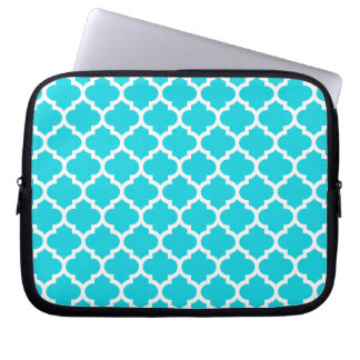 Quatrefoil Aqua Laptop Sleeve