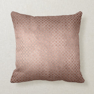 Quatrefoil Art Deco Pink Rose Gold Powder Glam Throw Pillow