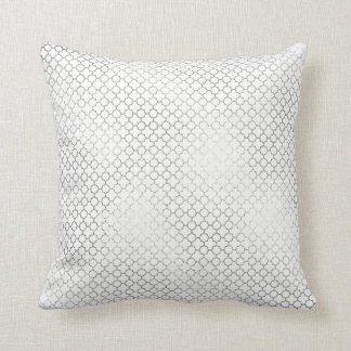 Quatrefoil Art Deco White Delicate Geometric Glam Cushion
