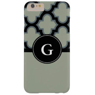 Quatrefoil black and gray or grey monogram design barely there iPhone 6 plus case