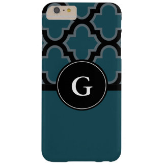 Quatrefoil black and teal monogram design barely there iPhone 6 plus case