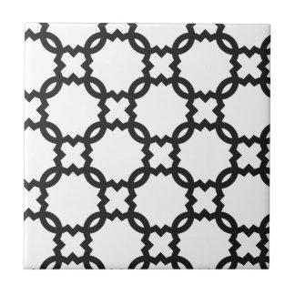 Quatrefoil Black and White | Customizable Small Square Tile
