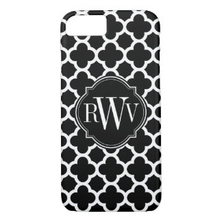 Quatrefoil Black and White Pattern Monogram iPhone 8/7 Case
