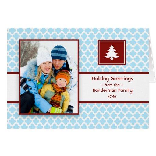 Quatrefoil Blue Red Folded Christmas Card