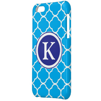 Quatrefoil blue & white custom initial, monogram case for iPhone 5C