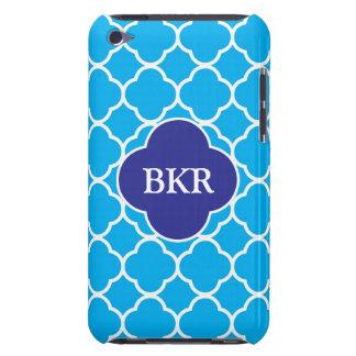 Quatrefoil blue white monogram ipod touch 4g cas iPod Case-Mate case