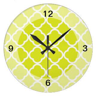 Quatrefoil Bright Lime Green Large Clock