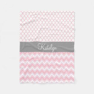 Quatrefoil Chevron Pattern Pink Gray | Monogram Fleece Blanket