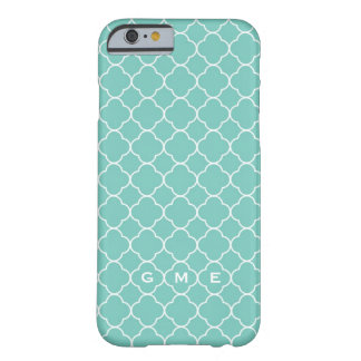 Quatrefoil clover pattern blue teal 3 monogram barely there iPhone 6 case