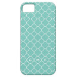 Quatrefoil clover pattern blue teal 3 monogram case for the iPhone 5