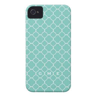 Quatrefoil clover pattern blue teal 3 monogram iPhone 4 Case-Mate cases