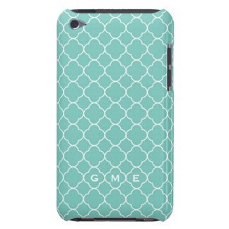 Quatrefoil clover pattern blue teal 3 monogram iPod Case-Mate cases