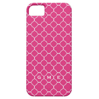 Quatrefoil clover pattern hot pink 3 monogram barely there iPhone 5 case
