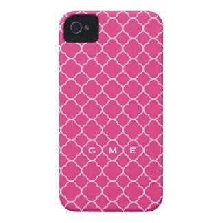 Quatrefoil clover pattern hot pink 3 monogram Case-Mate iPhone 4 cases