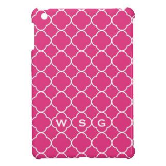 Quatrefoil clover pattern hot pink 3 monogram iPad mini cover