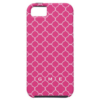 Quatrefoil clover pattern hot pink 3 monogram iPhone 5 case