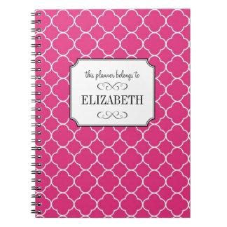 Quatrefoil clover pattern hot pink wedding planner notebooks