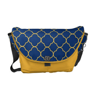 Quatrefoil clover pattern navy blue yellow fashion commuter bag