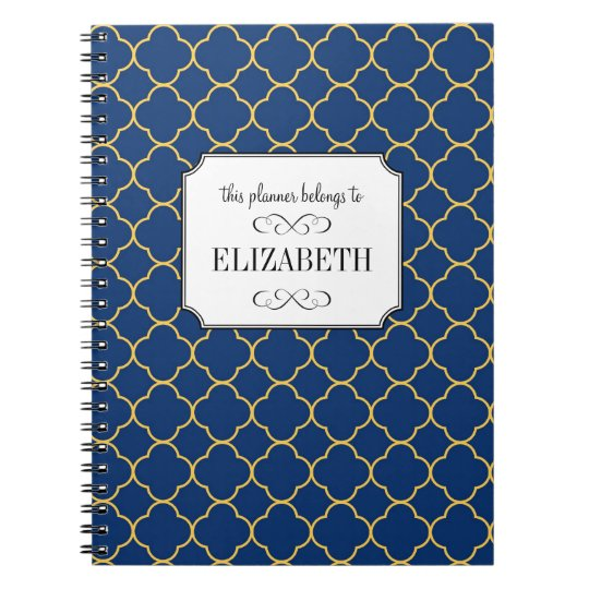 Quatrefoil clover pattern navy wedding planner notebook