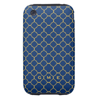 Quatrefoil clover pattern navy yellow 3 monogram iPhone 3 tough covers