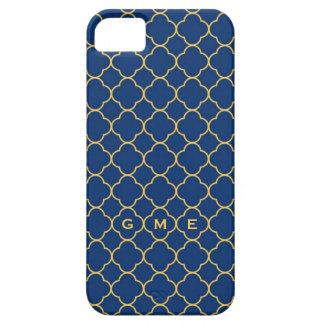 Quatrefoil clover pattern navy yellow 3 monogram iPhone 5 case