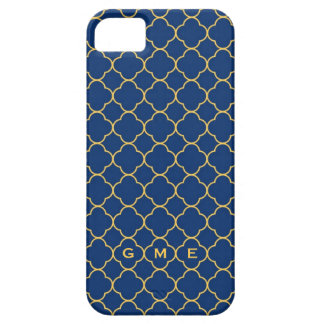 Quatrefoil clover pattern navy yellow 3 monogram iPhone 5 covers